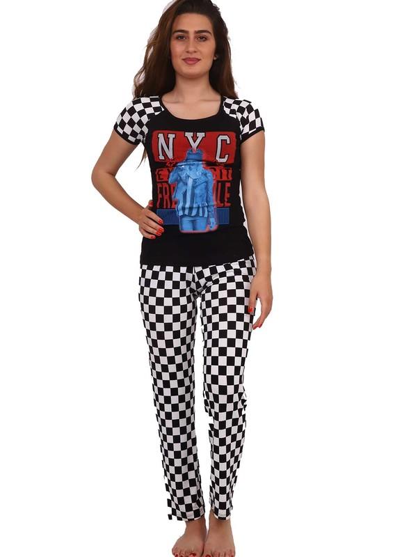 EWE - Ewe Puantiyeli Baskılı Kısa Kollu Pijama Takımı 563 | Siyah