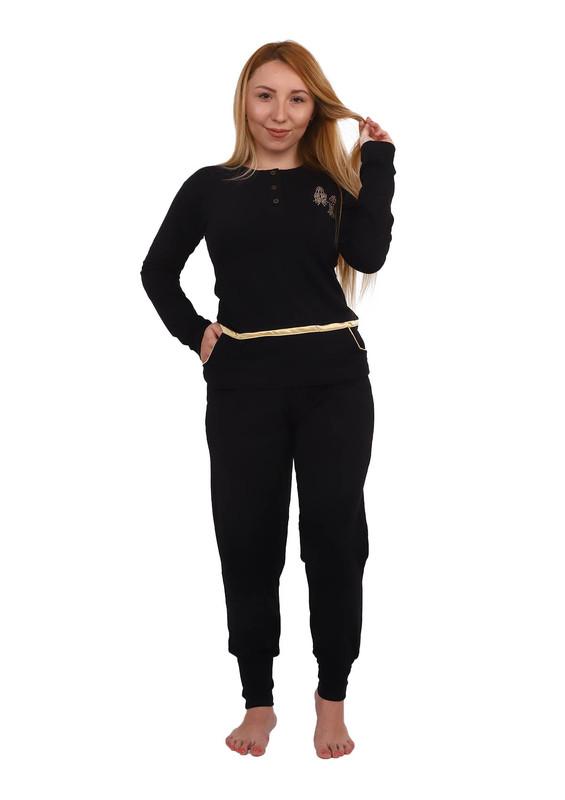FAPİ - Fapi Dar Paçalı Düğmeli Cepli Pijama Takımı 7310   Siyah