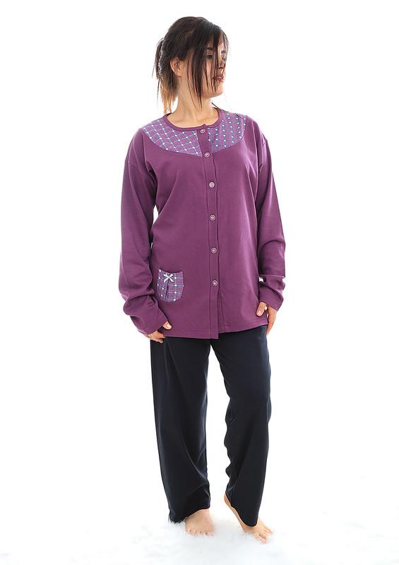 FAPİ - Fapi Yakası Desenli Önü Düğmeli Pijama Takımı 7353 | Mor