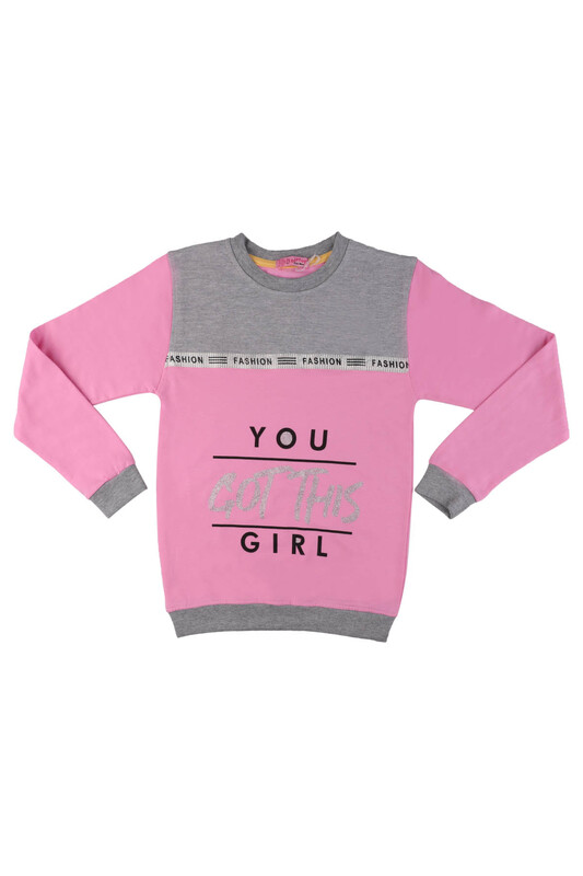 SİMİSSO - Fashion Yazı Baskılı Kız Çocuk Sweat 528   Bebe Pembe
