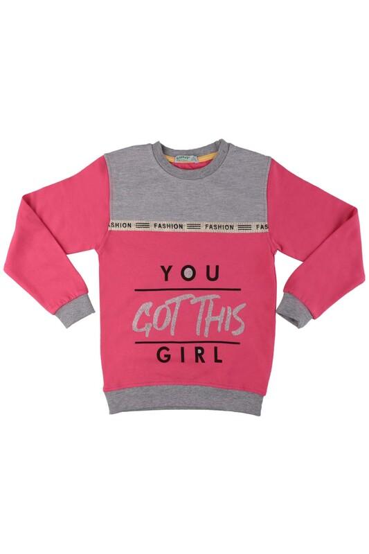 SİMİSSO - Fashion Yazı Baskılı Kız Çocuk Sweat 528   Pudra