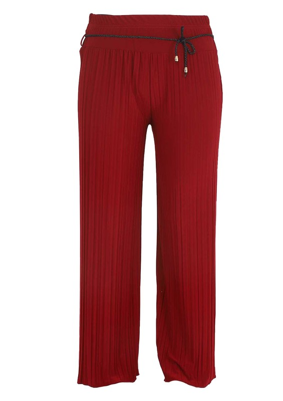 SEVİNÇ - Geniş Paçalı İp Kemerli Etekli Pantolon | Bordo