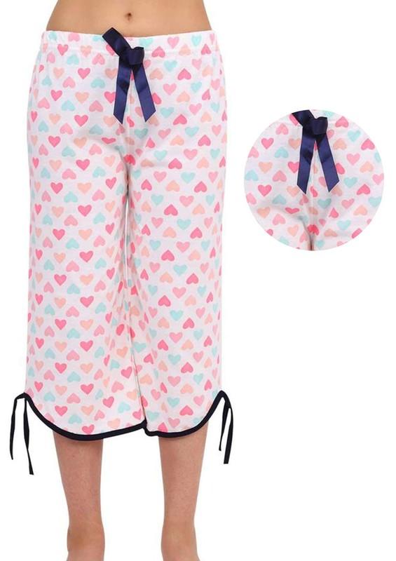 RİNDA - Geniş Paçalı Kurdeleli Kalpli Kapri Pijama Altı 007 | Krem