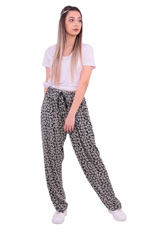 STAR CITY - Geniş Paçalı Yaprak Desenli Pantolon | Siyah