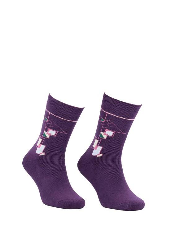 Modemo - Geometrik Desenli Havlu Çorap 2050   Mor