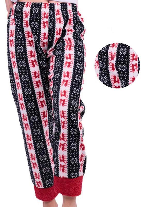 SİMİSSO - Geyik Desenli Polar Pijama Altı | Kırmızı