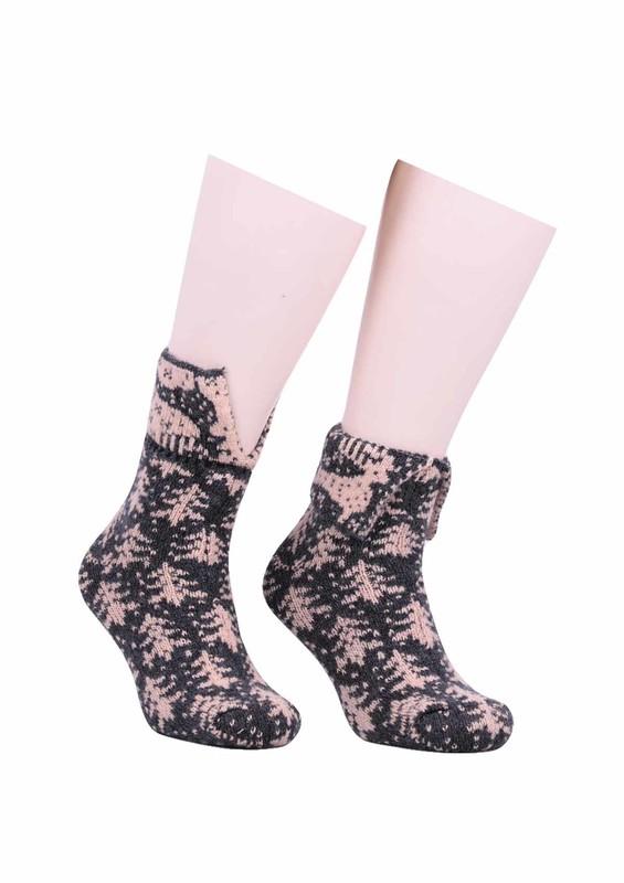 SARA DONNA - Geyik Desenli Yün Çorap 525   Gri
