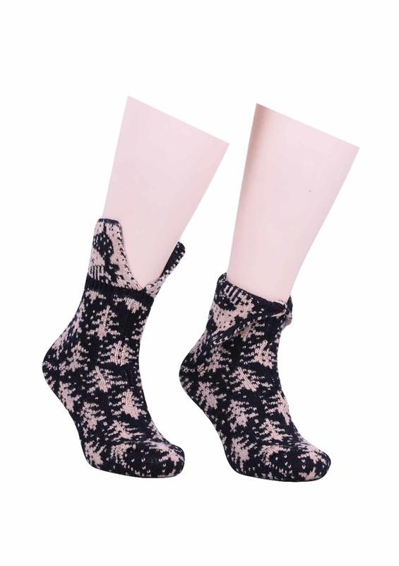 SARA DONNA - Geyik Desenli Yün Çorap 525   Lacivert