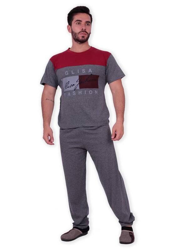 GLİSA - Glisa Blok Renkli Kısa Kollu Erkek Pijama Takımı | Kırmızı