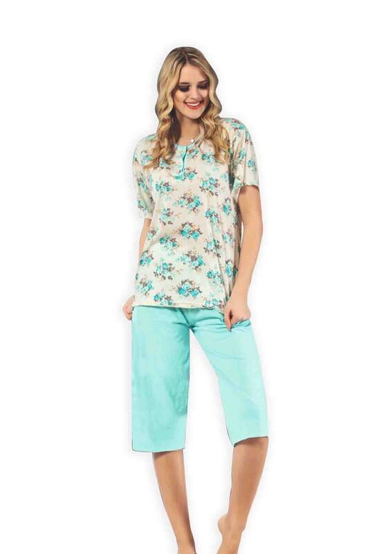 GLISA - Glisa Çiçek Desenli Kapri Pijama Takımı | Mavi