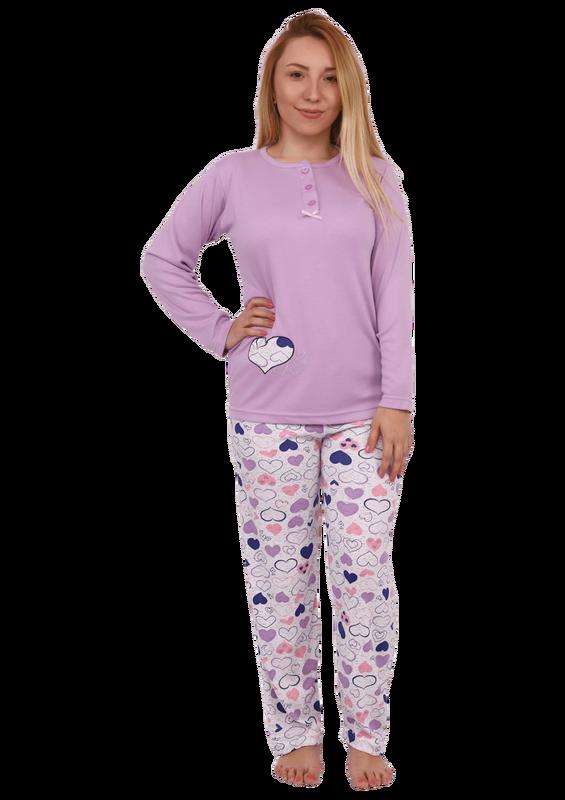 GLISA - Glisa Yakası Düğmeli Kalpli Pijama Takımı 2760 | Lila