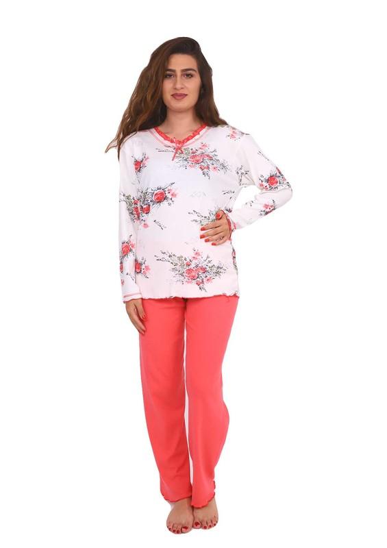 GOOD NIGHT - Good Night Yakası Fırfırlı Çiçek Desenli Beyaz-Kırmızı Pijama Takımı 1001 | Nar Çiçeği
