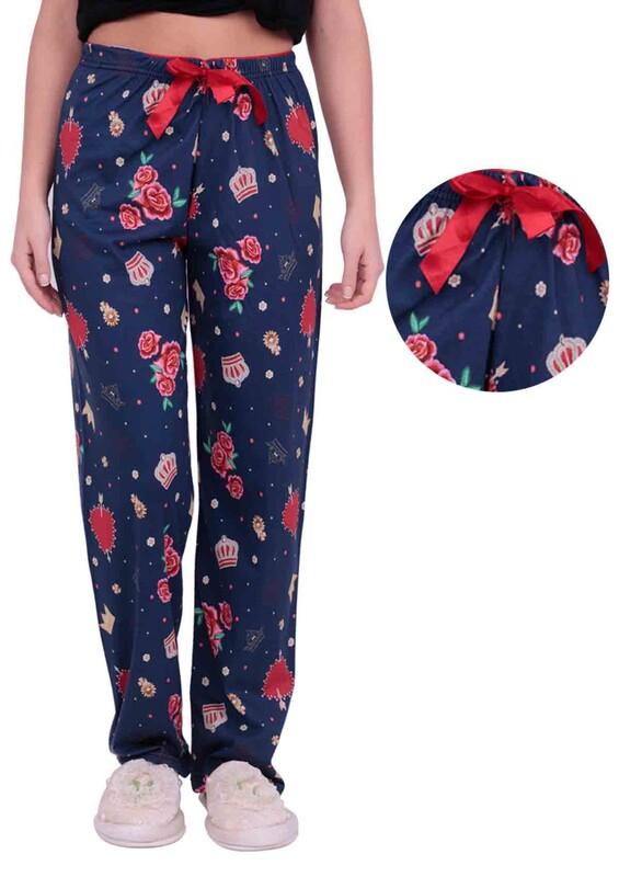 DOĞA - Gül Baskılı Kadın Pijama Altı | Lacivert