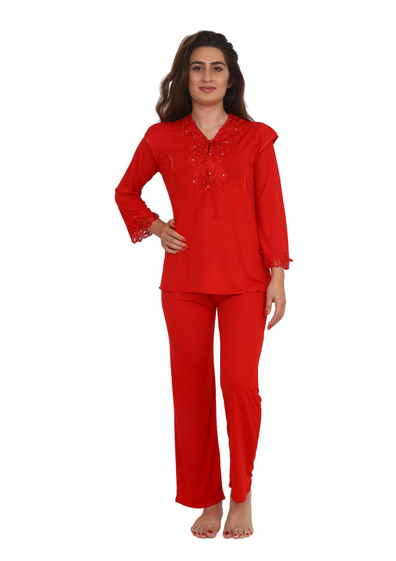 İMAJ - Güpür Yakalı Düğmeli Pijama Takımı 1299   Kırmızı