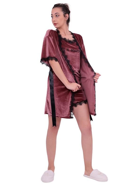 ARCAN - Güpürlü Kadife Şortlu 3'lü Pijama Takımı 10103 | Gül Kurusu