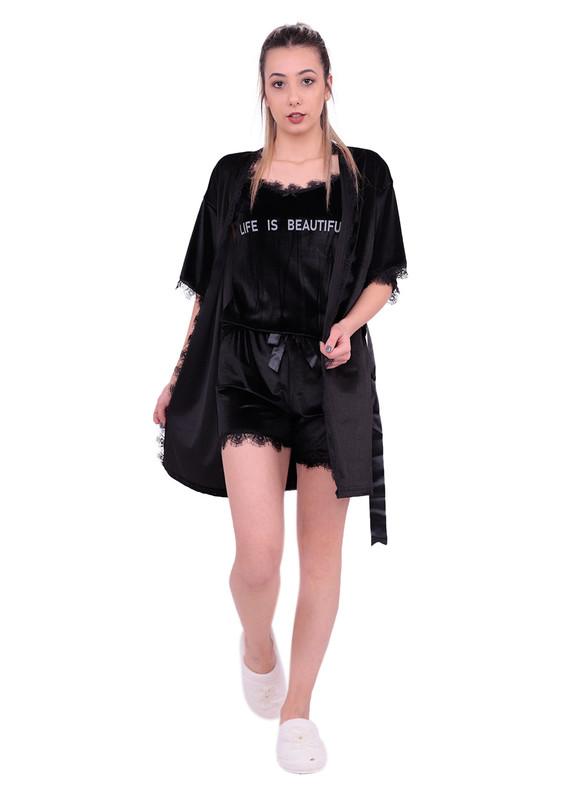 ARCAN - Güpürlü Kadife Şortlu 3′lü Pijama Takımı 10103 | Siyah