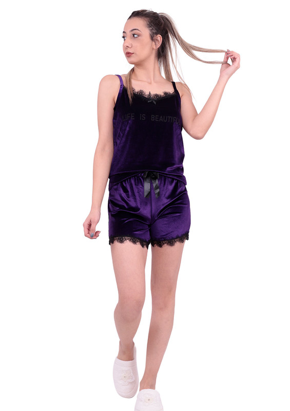 ARCAN - Güpürlü Kadife Şortlu Pijama Takımı 10101 | Mor
