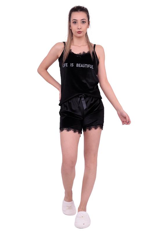 ARCAN - Güpürlü Kadife Şortlu Pijama Takımı 10101 | Siyah