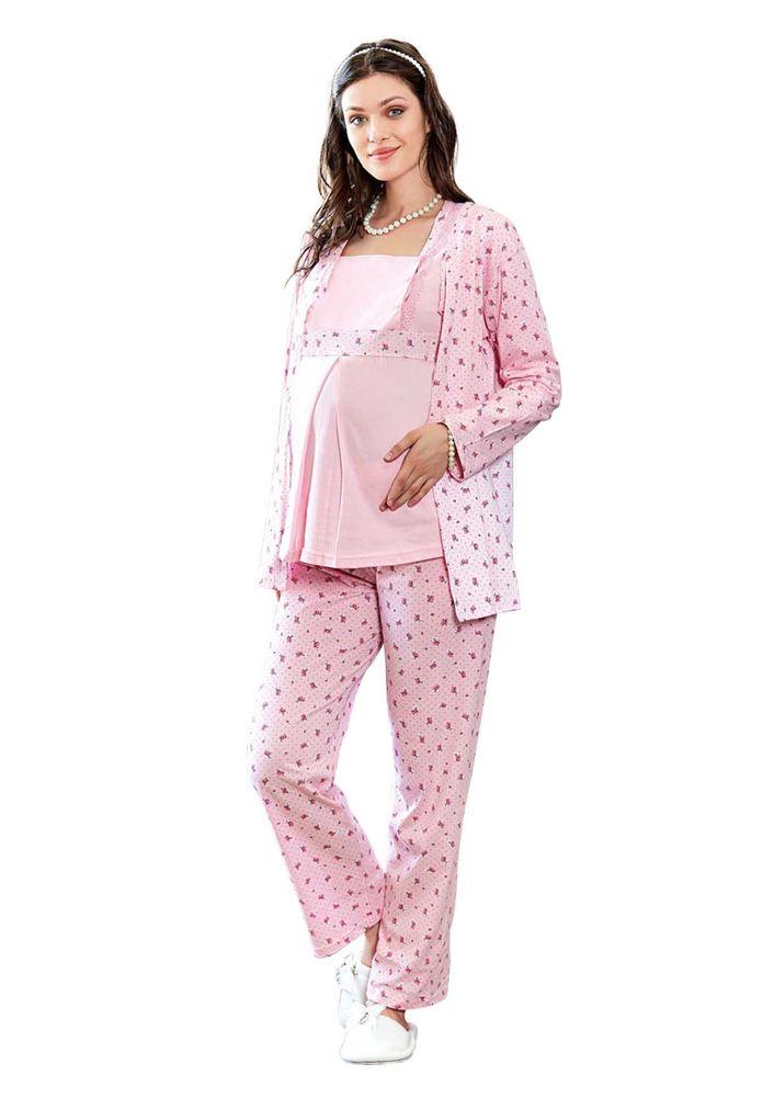 Güllü Hamile Pijama Takımı 3 ' lü 1372 | Pembe