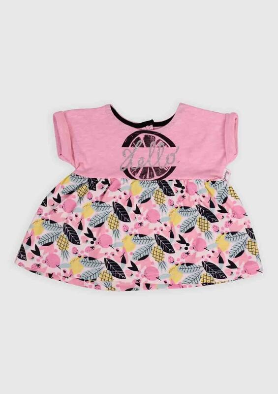 Hippıl Baby - Hippıl Baby Ananas Baskılı Bebek Elbise | Pembe