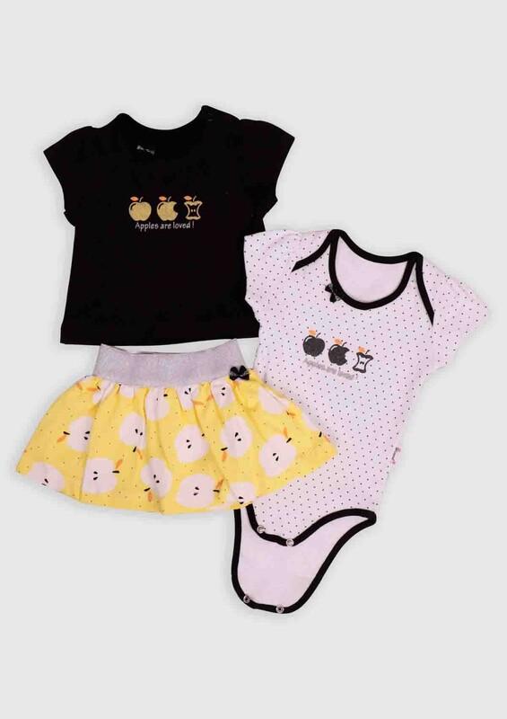 Hippıl Baby - Hippıl Baby Elma Baskılı 3'lü Bebek Takım | Siyah