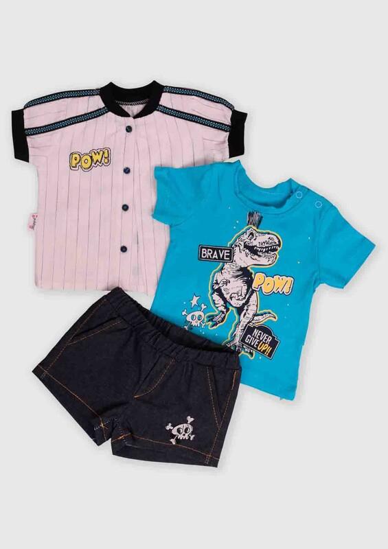 Hippıl Baby - Hippıl Baby Gömlekli 3'lü Bebek Takım | Mavi