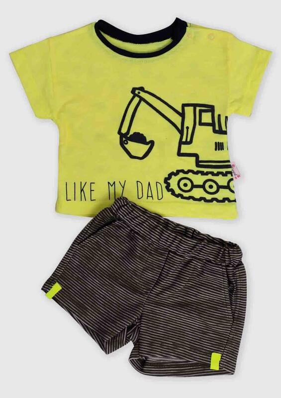 Hippıl Baby - Hippıl Baby İş Makinası Baskılı 2'li Bebek Takım | Yeşil