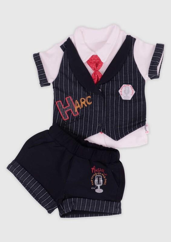 Hippıl Baby - Hippıl Baby Kravatlı 2'li Erkek Bebek Takım | Siyah