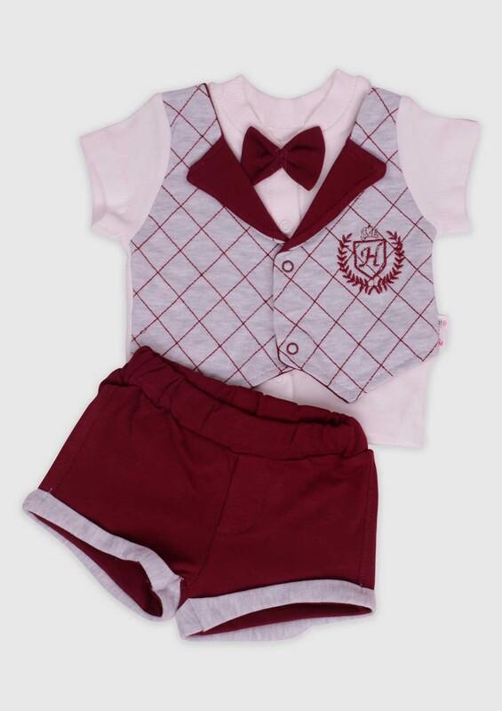 Hippıl Baby - Hippıl Baby Papyonlu Erkek Bebek 2'li Takım 0319 | Bordo
