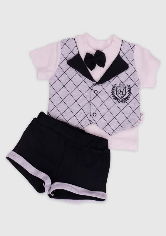 Hippıl Baby - Hippıl Baby Papyonlu Erkek Bebek 2'li Takım 0319 | Siyah