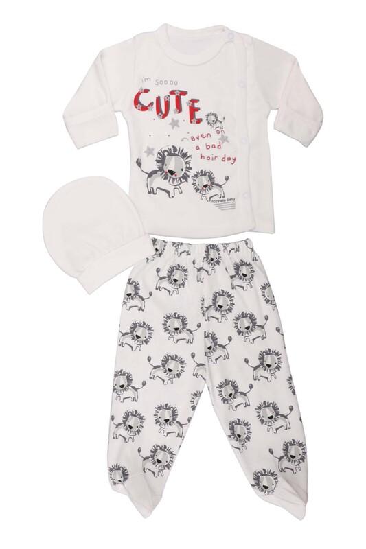 HOPPALA BABY - Hoppala Baby Aslan Desenli 3'lü Zıbın Seti 2023 | Beyaz