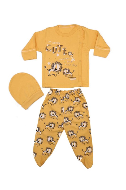 HOPPALA BABY - Hoppala Baby Aslan Desenli 3'lü Zıbın Seti 2023 | Sarı