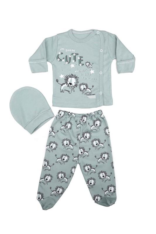 HOPPALA BABY - Hoppala Baby Aslan Desenli 3'lü Zıbın Seti 2023 | Yeşil