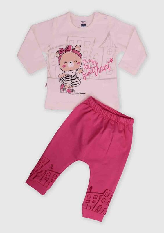 HOPPALA BABY - Hoppala Baby Ayıcık Baskılı 2'li Bebek Takım | Fuşya