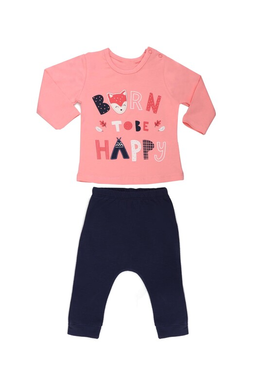 HOPPALA BABY - Hoppala Baby Baskılı Kız Bebek 2'li Takım | Pembe