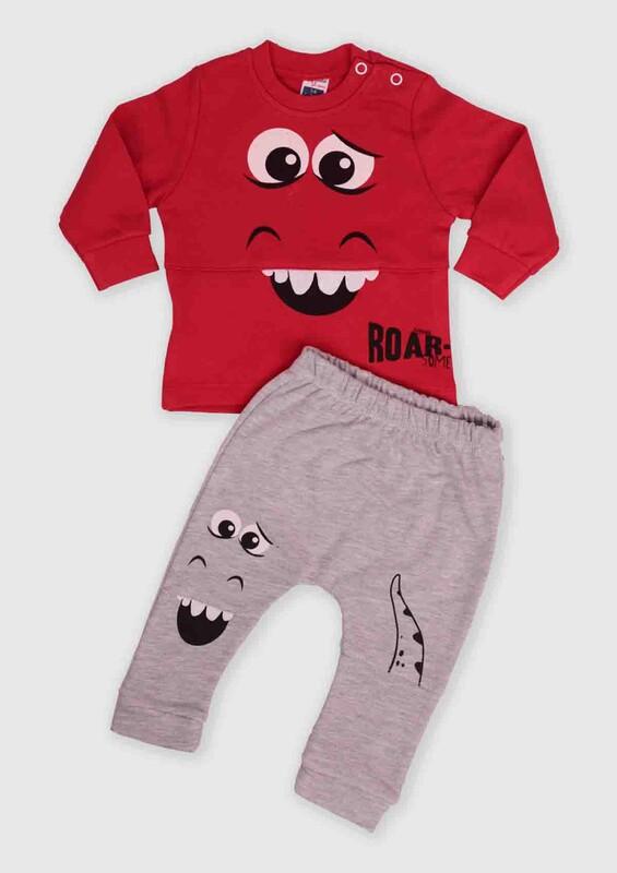 HOPPALA BABY - Hoppala Baby Canavar Baskılı 2'li Bebek Takım | Kırmızı