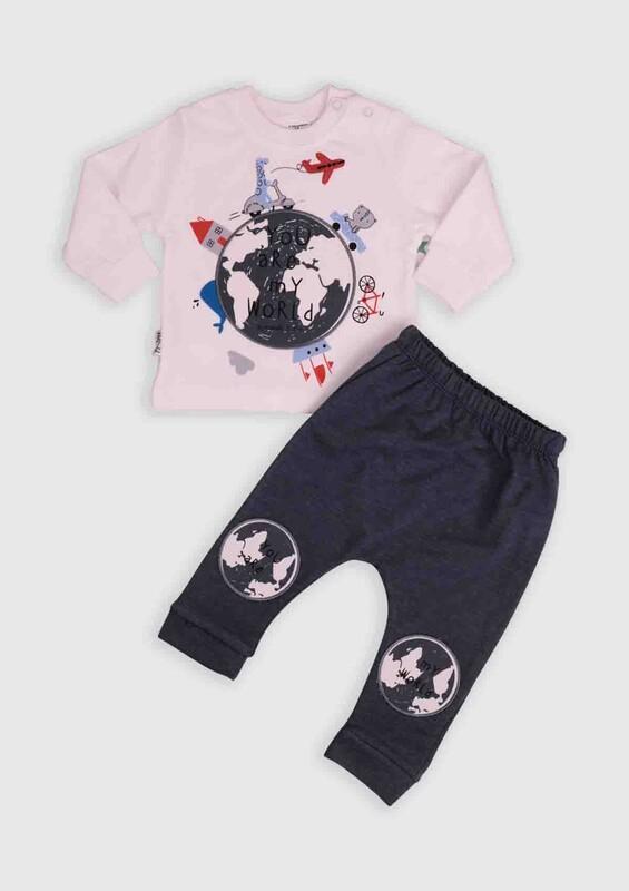 HOPPALA BABY - Hoppala Baby Dünya Baskılı 2'li Bebek Takım | Füme
