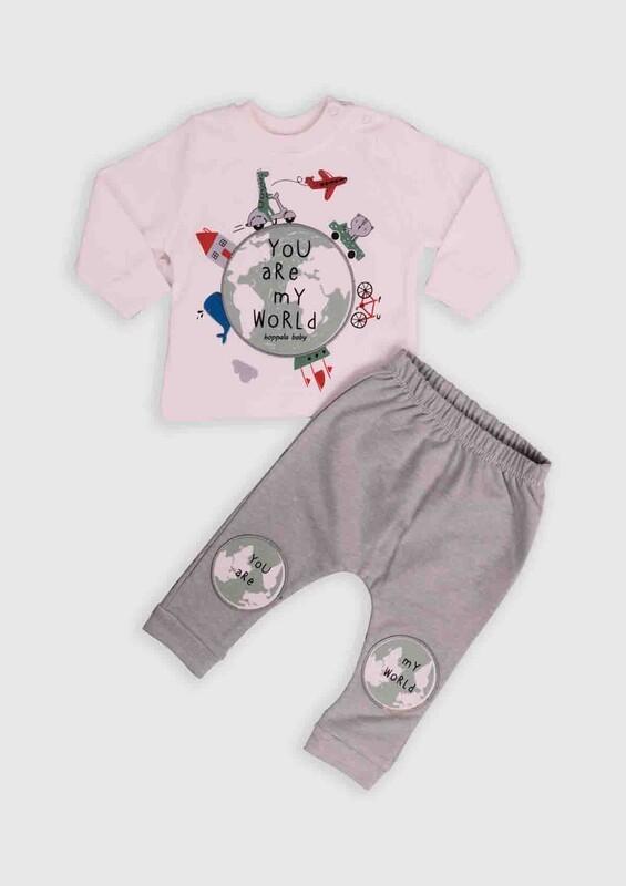 HOPPALA BABY - Hoppala Baby Dünya Baskılı 2'li Bebek Takım | Su Yeşili