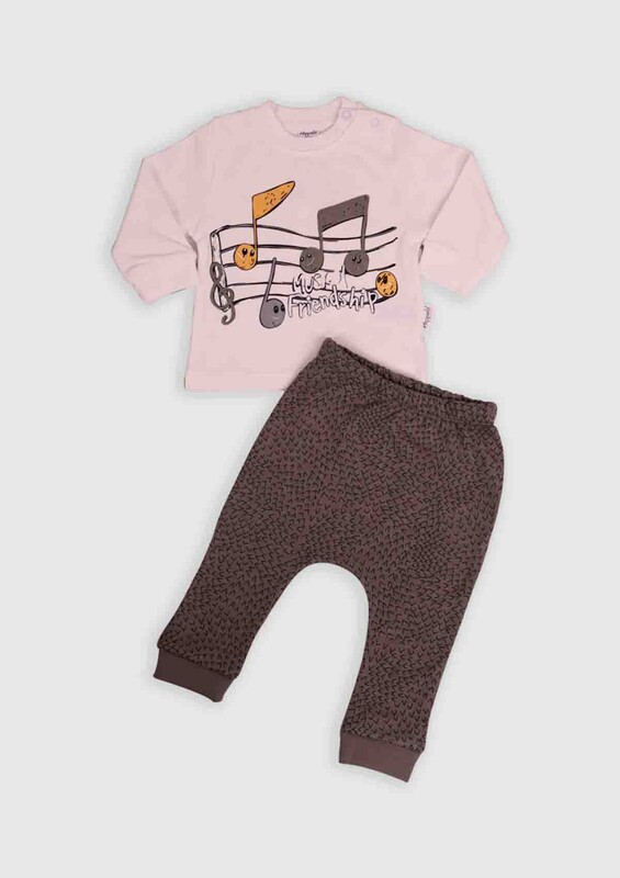 HOPPALA BABY - Hoppala Baby Nota Baskılı 2'li Bebek Takım | Gri