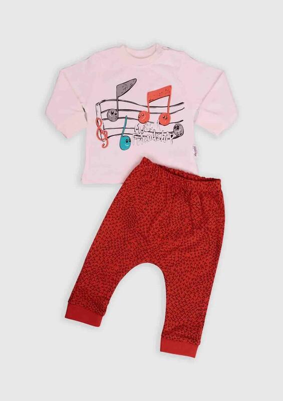 HOPPALA BABY - Hoppala Baby Nota Baskılı 2'li Bebek Takım | Turuncu