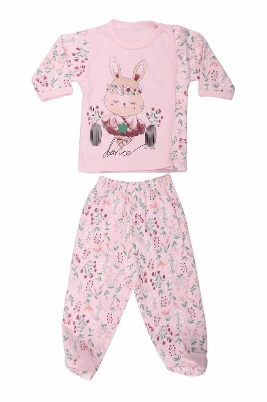 HOPPALA BABY - Hoppala Baby Tavşan Desenli Patikli Zıbın Takımı 2063   Pembe
