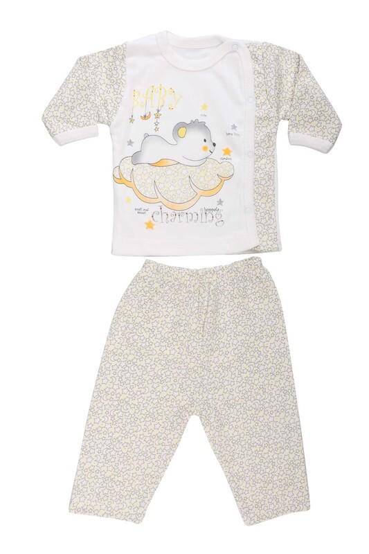 HOPPALA BABY - Hoppala Baby Yıldız Baskılı Patiksiz Zıbın 8505   Sarı