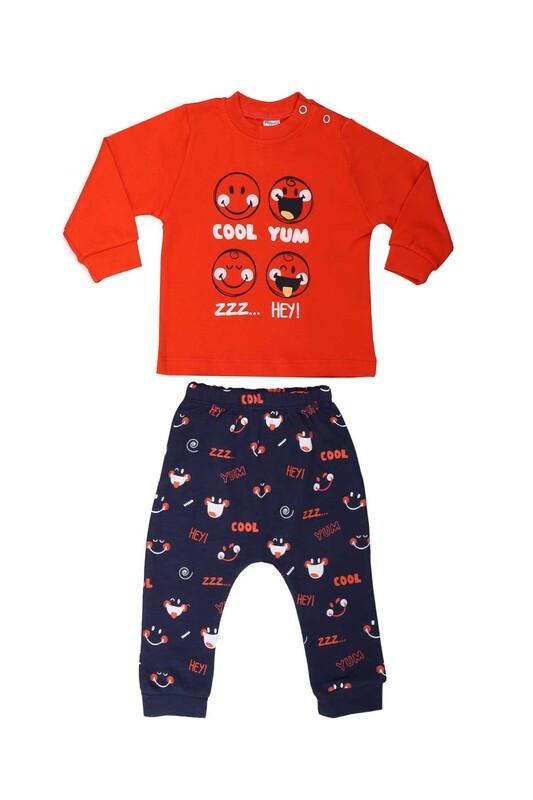 HOPPALA BABY - Hoppala Gülücük Desenli Bebek Takımı 2103 | Kırmızı
