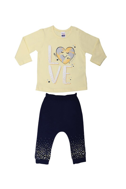 HOPPALA BABY - Hoppala Kalp Baskılı Bebek Takımı 2294 | Sarı