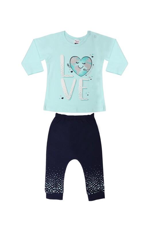 HOPPALA BABY - Hoppala Kalp Baskılı Bebek Takımı 2294 | Su Yeşili