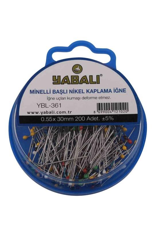 YABALI - Yabalı Minelli Başlı Nikel Kaplama İğne 200 Adet YBL-361 | Karışık