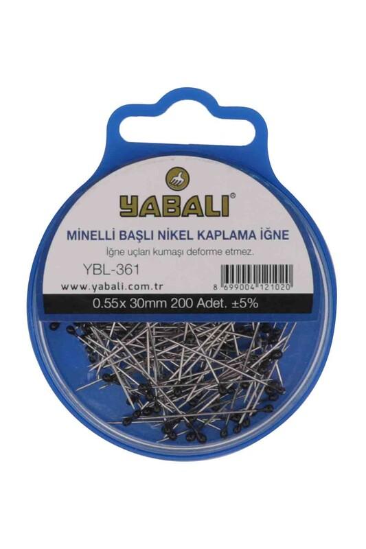 YABALI - Yabalı Minelli Başlı Nikel Kaplama İğne 200 Adet YBL-361 | Siyah