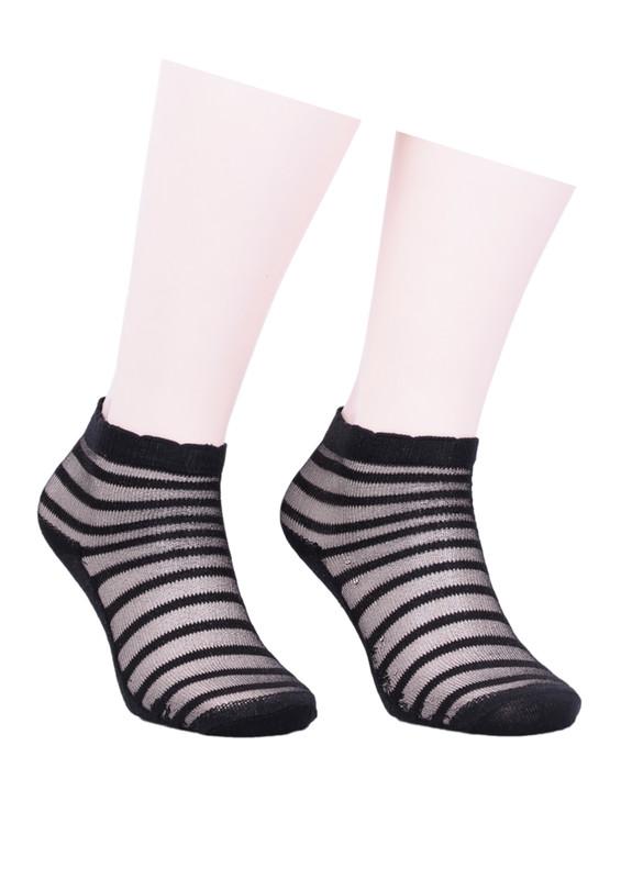 İLBAŞ - İlbaş Çizgi Desenli Siyah Soket Çorap 330 | Siyah