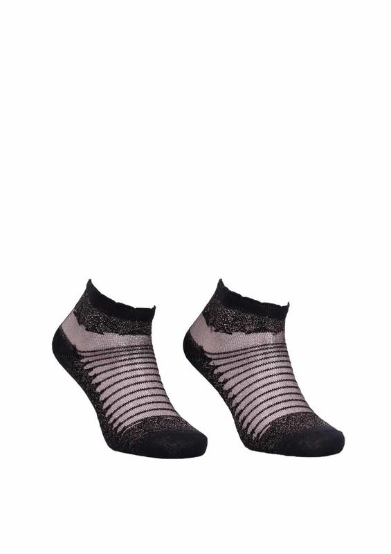 İLBAŞ - İlbaş Desenli Simli Siyah Soket Çorap 329 | Sarı