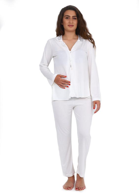 İMAJ - İmaj Gömlek Yakalı Düğmeli Beyaz Pijama Takımı 113   Ekru